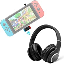 Wireless Gaming Headset for Nintendo Switch, Golvery Over-Ear Bluetooth Headphones w/USB C Transmitter for PS4, PC, Plug n Play, No Delay, Noise Cancelling Microphone Chat & Music, Easy Mute