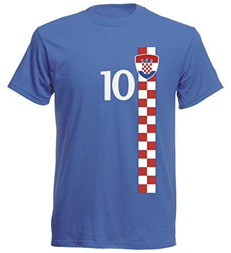 Kroatien Hrvatska Herren T-Shirt Nummer 10 Trikot Fußball Mini EM 2016 T-Shirt - S M L XL XXL - blau NC ST-1 (XXL)