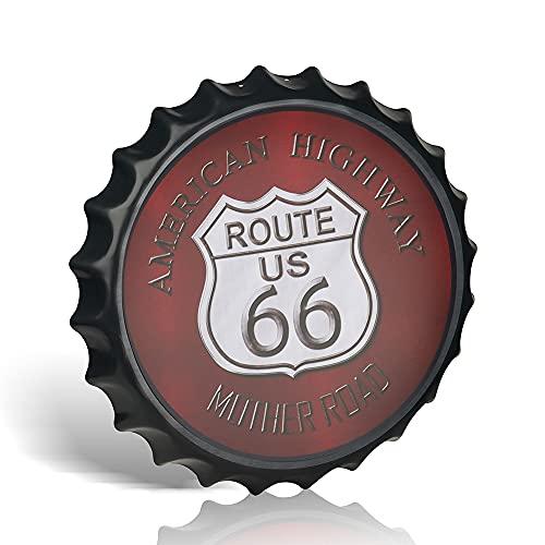 Cartel de pared Route 66 rojo vintage de metal de 40 cm con tapa de botella, bar pub