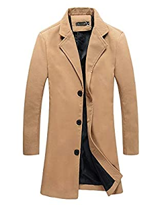 Beninos Mens Trench Coat Slim Fit Notched Collar Overcoat (M, F20 Camel) by