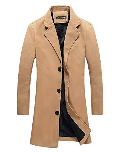 Beninos Mens Trench Coat Slim Fit Notched Collar Overcoat (F20 Camel, XL)