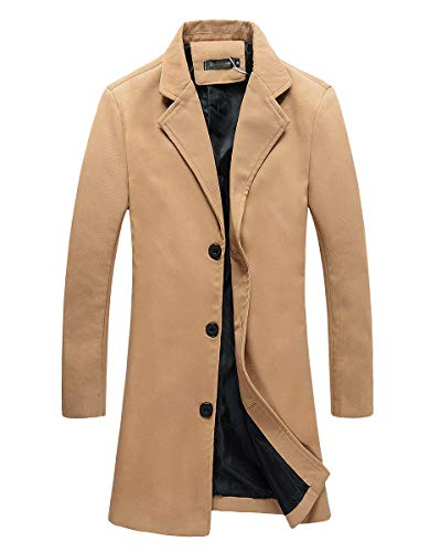 Beninos Mens Trench Coat Slim Fit Notched Collar Overcoat (F20 Camel, XL)