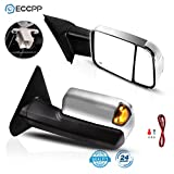 ECCPP Towing Mirrors Replacement fit for 2002-2008 for Dodge Ram 1500 2500 3500 Truck Tow Mirrors Power Heated with Arrow Signal Light Driver and Passenger Side Pair Manual Flip up Chrome Cover