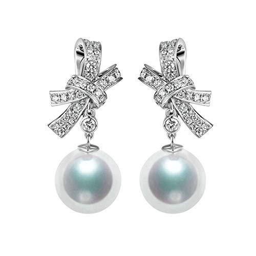 AMDXD 18K White Gold Earrings for Girls, Knot with South Sea Pearl Unique Earrings for Wedding Anniversary Earrings for Her, Birthday Party Gift with Exquisite Box for Women Mom