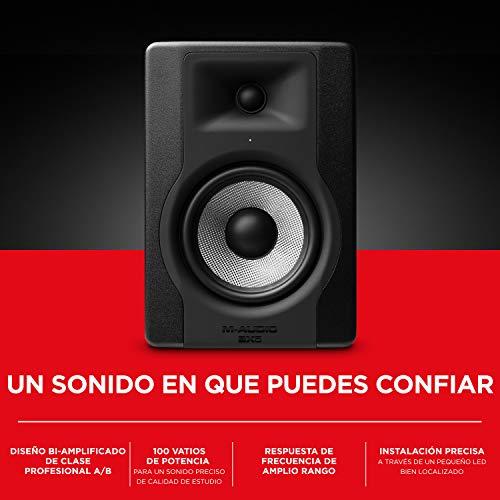 """M-Audio BX5 D3 - Monitor de estudio / Altavoz activo profesional bidireccional, 100 W con woofer 5"""" para producción musical y mezcla de música, con función Acoustic Space Control incorporado - 1 pieza"""