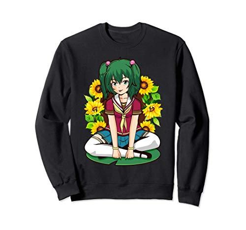 Sunflower Kawaii Summer Anime Girl Sitting On A Lily Flower Sudadera