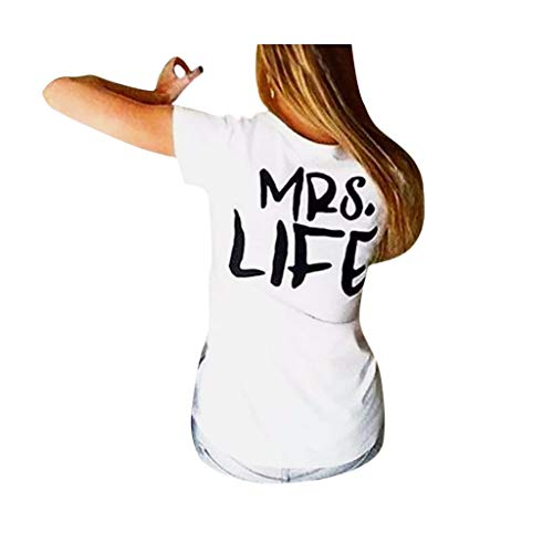 Dasongff Pärchen T-shirt Mr & Mrs partnerlook coupé shirt geschenken voor paren in verschillende Kleuren: X-Large wit/dames.