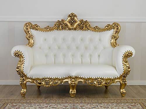 SIMONE GUARRACINO LUXURY DESIGN Divano Boutique Stile Barocco Francese Foglia Oro Ecopelle Bianca Bottoni Crystal SW