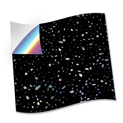WALPLUS 15 cm @ 24 pegatinas de azulejos de pared con purpurina holográfica de Terrazzo en color negro, para azulejos de cocina, baño, transferencia de azulejos