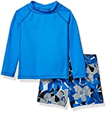 Amazon Essentials Infant Boys Long-Sleeve Rashguard and Trunk Swimsuit Sets, 2-Piece Blue Floral Set, 12 Months