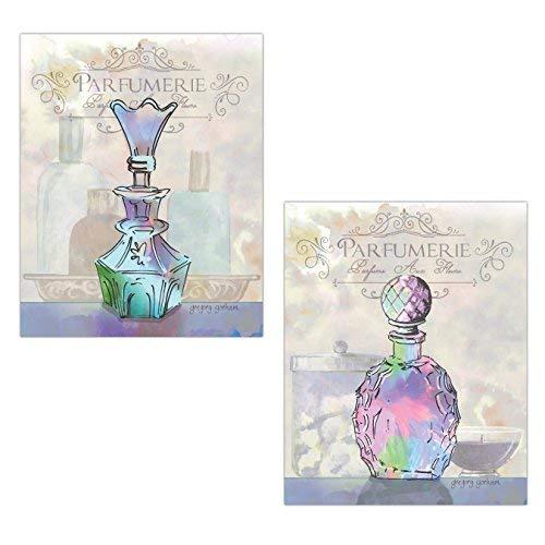 Leoner22art Mooie Roze, Paars en Blauw Elegante Parfum Fles Print Set, Twee 8x10 inches Oningelijst Canvas Art Bedrukt