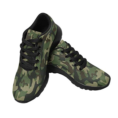 InterestPrint Womens Jogging Sneakers Outdoor Sport Cross Training Shoes US9 Green Camouflage