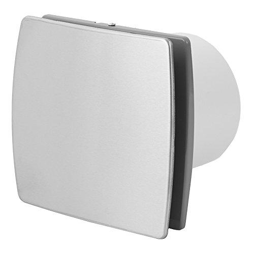 Ventola da parete per bagno, cucina e piccoli ambienti, silenziosa, in acciaio inox, Ø 100mm, T100I