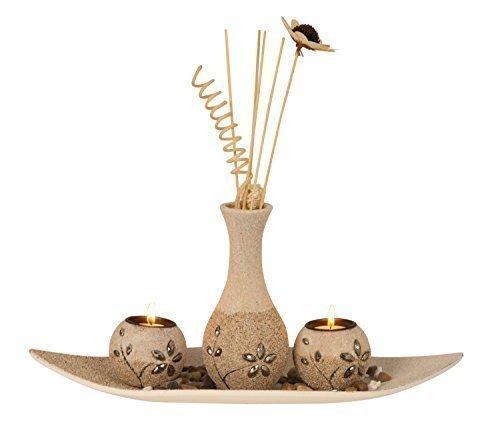 Mel O Design Moderno portavelas de té de 3-Piezas Portavelas Conjunto Incluido jarrón Altura 37 cm