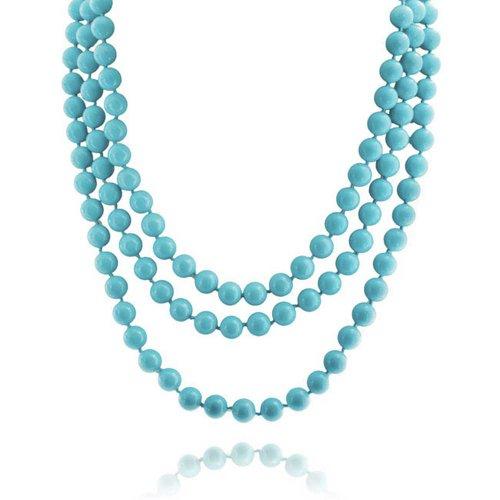 Bling Jewelry Infinitas Capas Azul Hebra Larga Boho Moda Collar Abalorios Turquesa Comprimido para La Mujer Adolescente De 69 Pulg.