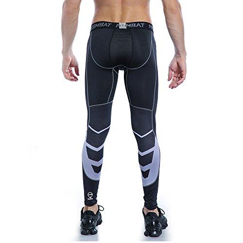 AMZSPORT Herren Fitness Hose Pro Cool Compression Tights Funktionswäsche Pants, S, Schwarz - 5
