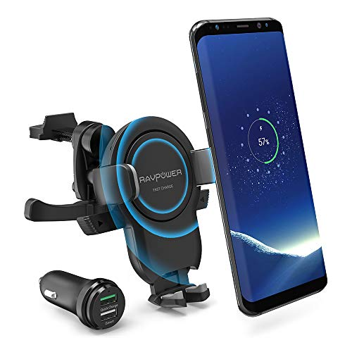 RAVPower Wireless Charger Car Mount, Power Fast Charge Phone Car Mount, Qi Wireless Car Phone Holder for Air Vent, Compatible with iPhone Xs Max XR X 8 Plus Galaxy S9 S8 Note 9 8 and More