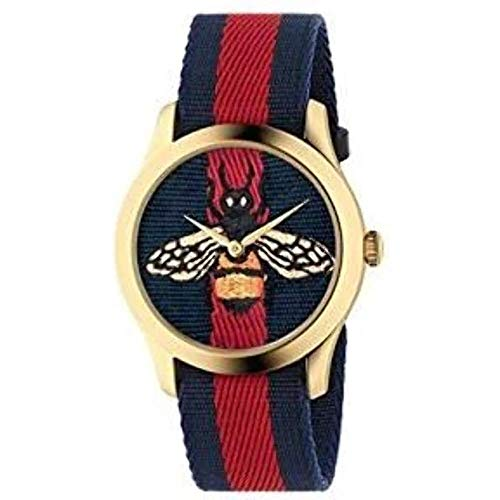 Yellow gold PVD case, blue and red Web nylon dial with bee embroidery, blue and red Web nylon strap Ronda quartz movement Water resistance: 5 ATM (160 feet/50 meters) Wrist size adjustable from 175mm to 217mm Swiss Made and two year international war...