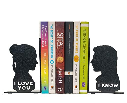 HeavenlyKraft I Love You I Know Metal Bookend, Non Skid Book End, Book Stopper for Home/Office Decor/Shelves, I Love You I Know Gift 5.9 X 3.9 X 3.14 Inch Per Piece