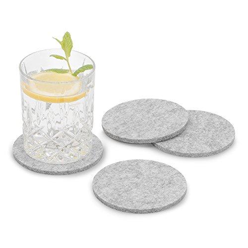 FILU Filzuntersetzer rund 8er Pack (Farbe wählbar) hellgrau - Untersetzer aus Filz für Tisch und Bar als Glasuntersetzer/Getränkeuntersetzer für Glas und Gläser ? grau