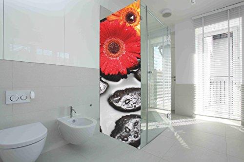 Vinilo para Mamparas baños Margaritas |Varias Medidas 60x185cm | Adhesivo Resistente y de Facil Aplicación | Pegatina Adhesiva Decorativa de Diseño Elegante|