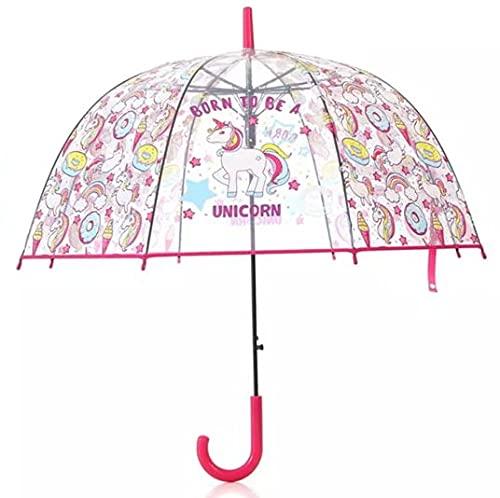 Paraguas Transparente Unicornio, niños y Adultos, Chicos y Chicas Plegable y automático a Prueba de Viento para Exteriores-...