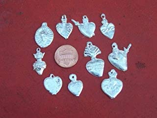 Milagro Lot - 25 ALL HEARTS Mexican Milagros, Silver Color