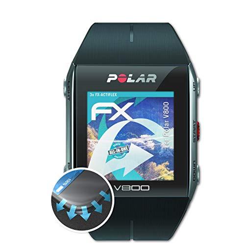atFoliX Schutzfolie kompatibel mit Polar V800 Folie, ultraklare & Flexible FX Bildschirmschutzfolie (3X)