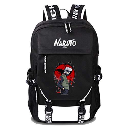 WANHONGYUE Naruto Anime Cosplay Schultasche Laptop Backpack Rucksack mit USB-Ladeanschluss Schwarz / 5