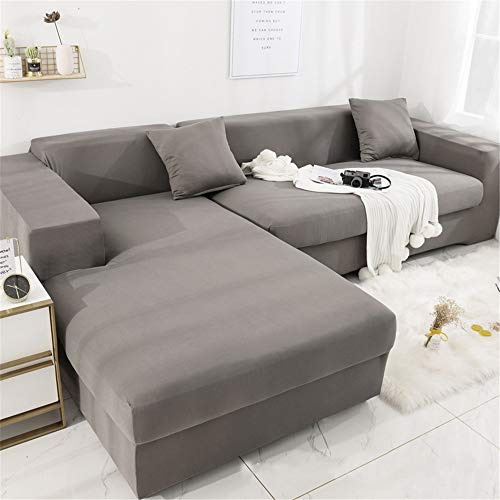 Deike Mild Sofabezug L Form Sofaüberwürfe Elastische Stretch Sofa-Schonbezug Fleckenabweisend Maschinenwäsche Möbelschutz Moderne Ecksofa Überzüge (Grau,4-Sitzer(230-300cm))
