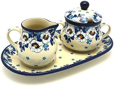 Polish Pottery Cream  Sugar Set - White Poppy