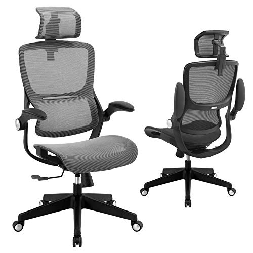 Office Chair Mesh Ergonomic Desk Chair High Back Computer Task Chair Swivel Stool Rolling Home Office Chair with Flip up Arms Adjustable 3D Lumbar Back Support Headrest 300lb