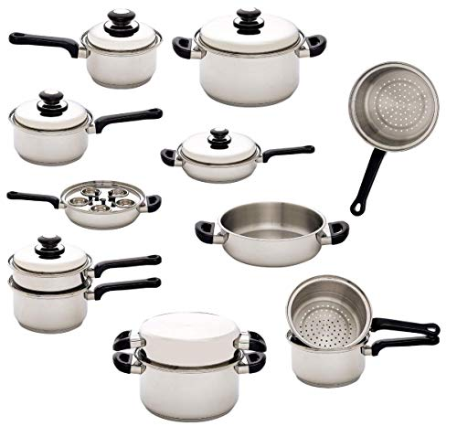 17pc Stainless Steel Waterless Cookware Set
