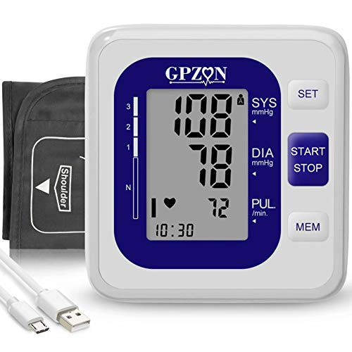 Blood Pressure Monitor Upper Arm Cuff kit Digital BP Machine Heart Rate Pulse Monitoring Device ,Charging USB or Battery,for 2 User 240 Memory