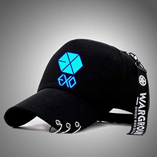 OUYANG - Gorra de béisbol para Hombre con luz de Noche Coreana y Sombrero de lengüeta Ajustable con Fondo Azul exagonal, con Anilla de Hierro Hexagonal (Cocina)