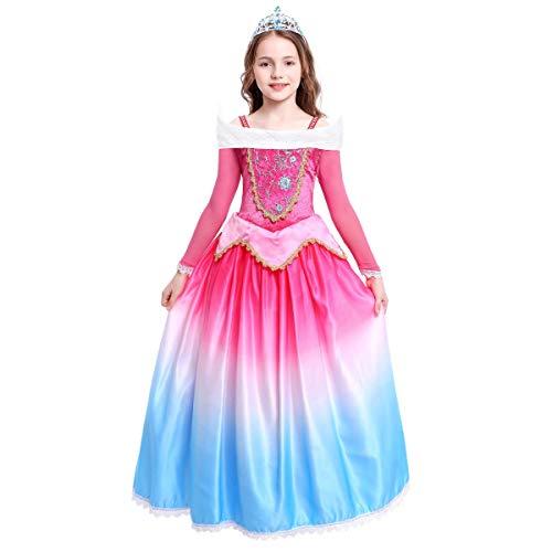 FYMNSI Disfraz de Princesa Aurora Vestido Traje de Bella Durmiente para Niña Sleeping Beauty Carnaval Cosplay Elegante Manga Larga Gradiente Vestido de Noche Largo Halloween Navidad Partido Disfraces