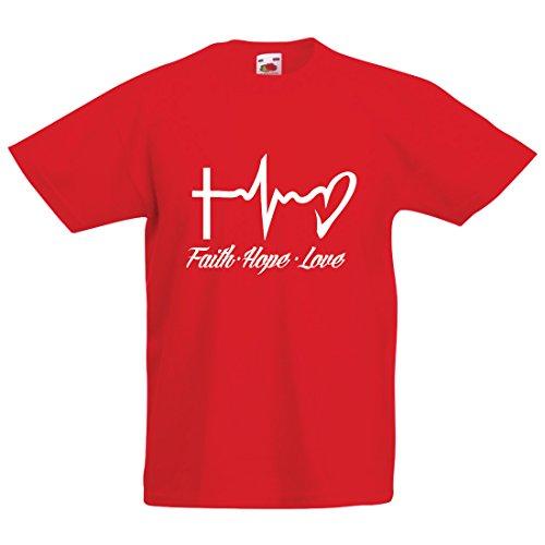 lepni.me Kinder Jungen/Mädchen T-Shirt Glaube - Hoffnung - Liebe - 1. Korinther 13:13, christliche Zitate und Sprichwörter, religiöse Sprüche (1-2 Years Rot Mehrfarben)