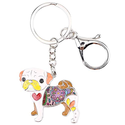 LZHLMCL Girl Keyrings Keychains Enamel Dog Key Chains Keychains Rings Animal Jewelry For Women Girls Pet Lovers Gifts Bag Car Pendant Pink