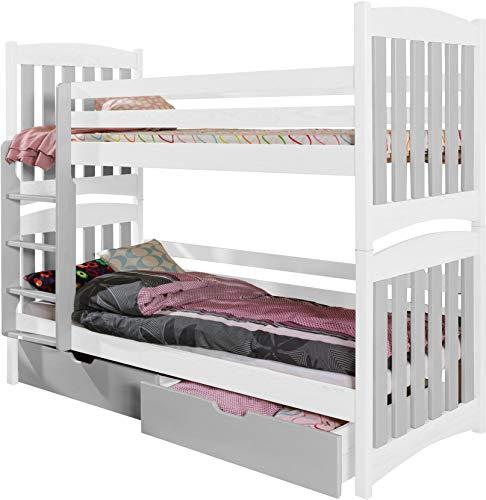 FurnitureByJDM - Stapelbed met matrassen en opberglades - SERAFIN - Massief, natuurlijk grenen hout - (Wit / Grijs)