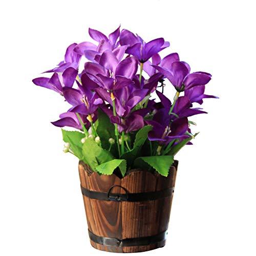 Flikool Künstliche Lilien Blumen im Holzfass Gefälschte Osterglocken Narzissen Seide Künstliche Pflanze im Topf Kunstblumen Bonsai Kunstpflanzen Topfpflanzen Für Fenster Balkon Haus Deko - Lila