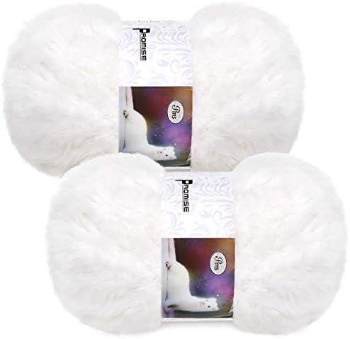 2 Pieces Skeins Soft Fur Yarn Fuzzy Fur Yarn Chunky Fluffy Faux Fur Yarn Eyelash Yarn Cream product image