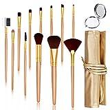 HOCOSY Pinceaux de Maquillage 12 Pièces avec PU Sac et Petit Miroir Rond, Pinceaux Maquillage Professionnel, Set de Pinceaux Maquillage, Pinceaux de Maquillage Fibre Synthétique
