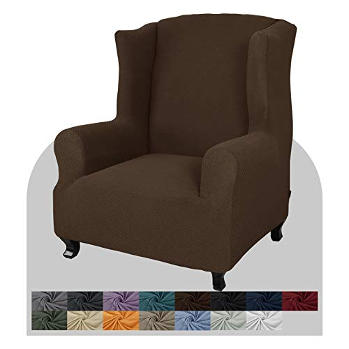 JIVINER Super Stretch Wingback Chair Slipcover 1-Piece Soft Spandex Jacquard Wing Chair Cover Living Room Slipcovers for Wingback Chairs with Foam Rods (Wingback Chair, Dark Coffee)