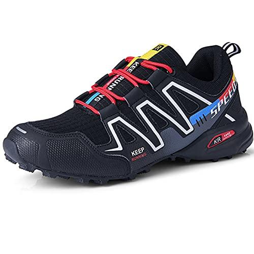 CHUIKUAJ Calzado de Ciclismo para Hombre Calzado de Ciclismo Indoor Sin Candado,Zapatos de Ciclismo de Bicicleta de Montaña Impermeables,Black-40EU