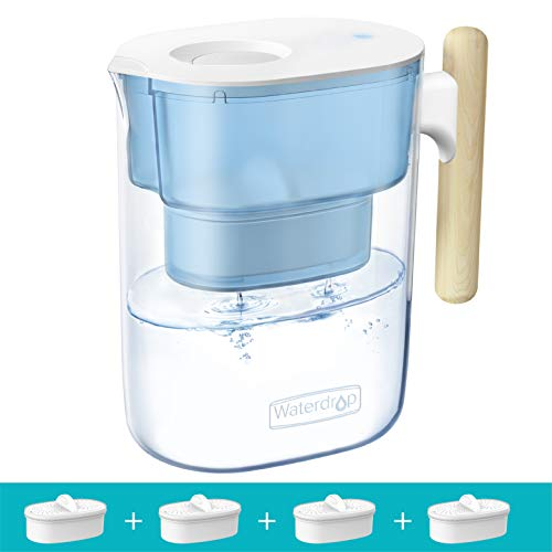 Waterdrop Chubby 10-Cup Water Filter Pitcher with 4 Filters, Long-Lasting (200 gallons), NSF Certified, 5X Times Lifetime Filtration Jug, Reduces Lead, Fluoride, Chlorine and More, BPA Free, Blue