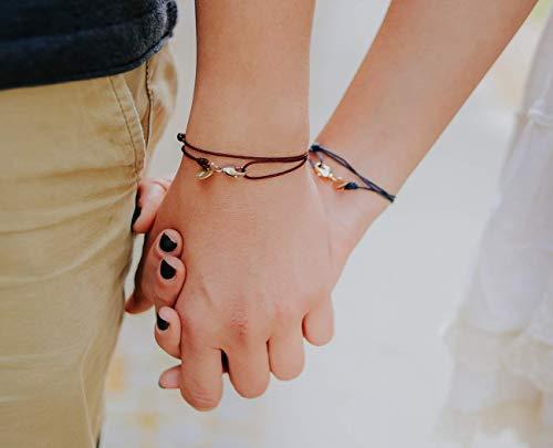 Partnerarmbänder Armband mit Buchstabe Freundschaftsarmband für 2 Geschenk für Paare mit Karabinerhaken (Handmade N)