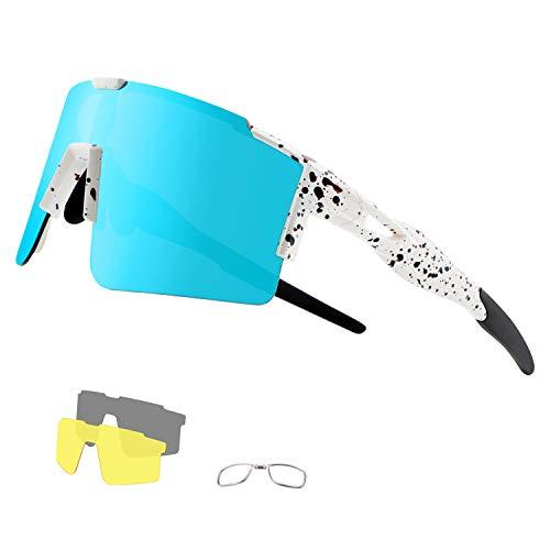 DUDUKING Occhiali Ciclismo Polarizzati con 3 Lenti Intercambiabili Occhiali Bici Antivento e Antiappannamento Occhiali Sportivi da Sole Anti UV da Uomo Donna per Corsa, MTB e Running (Bianco Blu)