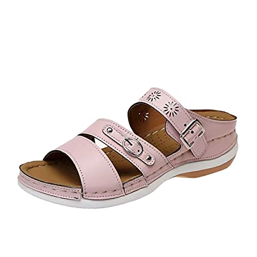 Fullwei Women Boho Orthopedic Sandals Ladies Supportive Embroidered Slippers Double Strap Hollow Out Slip On Slide Sport Walking Beach Water Sandals Shoe (Pink  7.5)