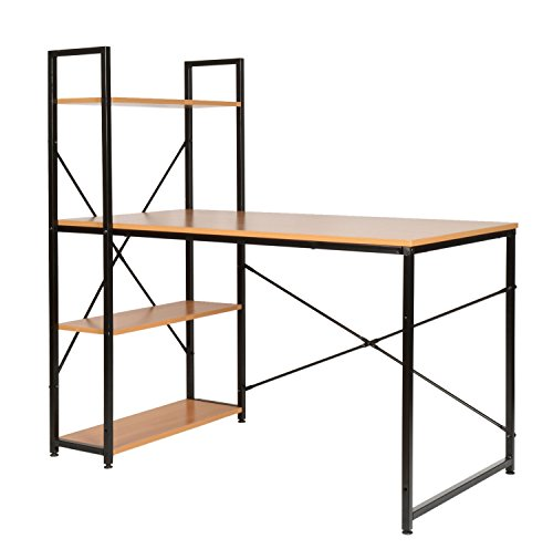 ts-ideen Holz Schreibtisch Bürotisch Computertisch Arbeitstisch mit Regal Metallgestell Schwarz