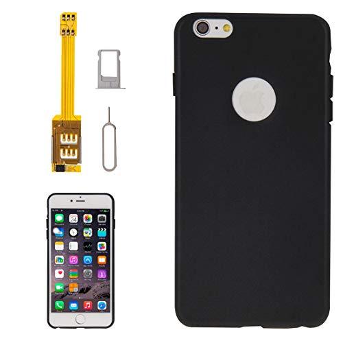 CHEJHUA For iPhone 6 Adición, 4 en 1 (Bandeja Caso Triple Tarjeta SIM Adapter + TPU + Soporte + Sim Card Holder Bandeja de expulsión Prendedor) Titular de la Tarjeta SIM